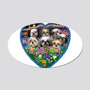 Shih Tzus in Heart Garden 20x12 Oval Wall Decal