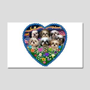 Shih Tzus in Heart Garden Car Magnet 20 x 12