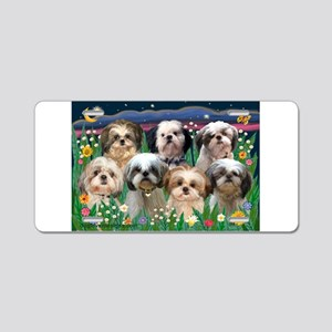 7 Shih Tzus in Moonlight Aluminum License Plate