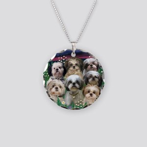7 Shih Tzus in Moonlight Necklace Circle Charm