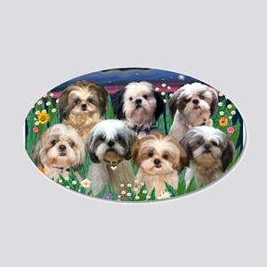 7 Shih Tzus in Moonlight 22x14 Oval Wall Peel