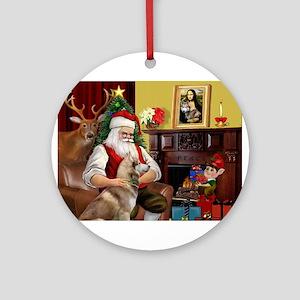 Santa's Red Husky Ornament (Round)