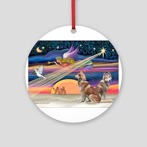 XmasStar/2 Red Huskies Ornament (Round)