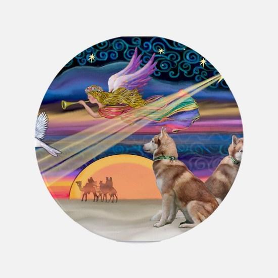 "XmasStar/2 Red Huskies 3.5"" Button"