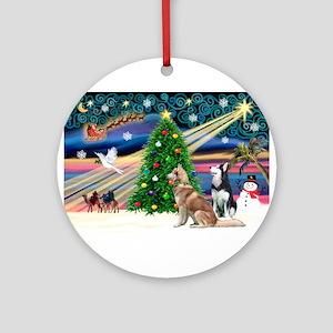XmasMagic/2 Huskies Ornament (Round)