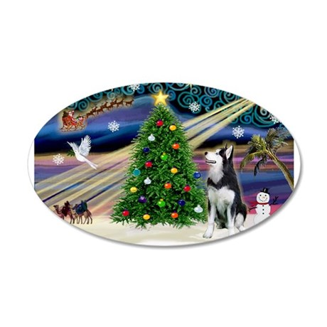Xmas Magic/Siberian Husky 1 22x14 Oval Wall Peel
