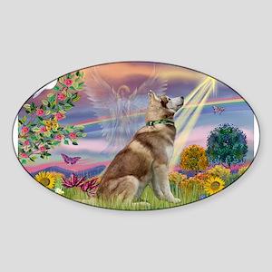 Cloud Angel & Husky Sticker (Oval)