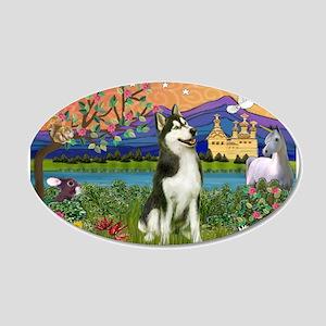 Siberian Husky Fantasyland 20x12 Oval Wall Decal