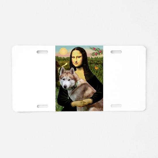 Mona & her Red Husky Aluminum License Plate