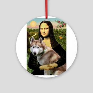 Mona & her Red Husky Ornament (Round)