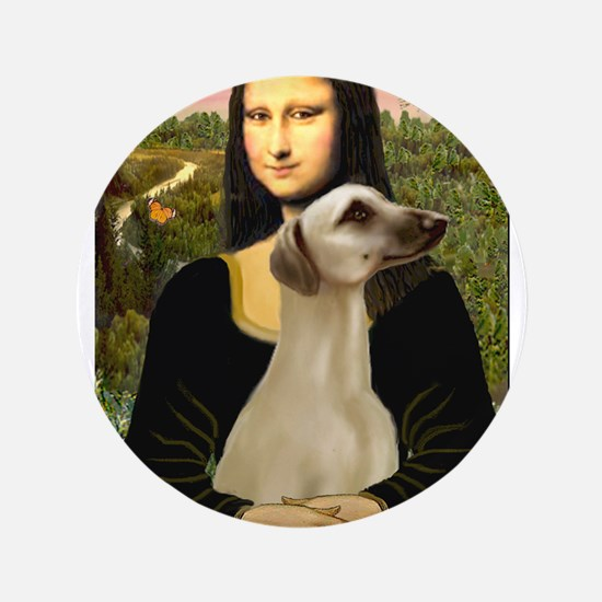 "Mona Lisa's Sloughi 3.5"" Button"