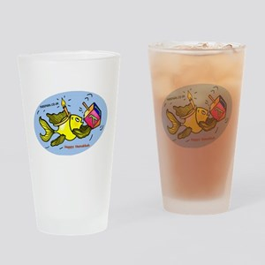 Hanukkah Fish Oval Drinking Glass