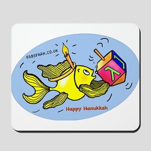 Hanukkah Fish Oval Mousepad