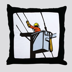 power lineman repairman Throw Pillow
