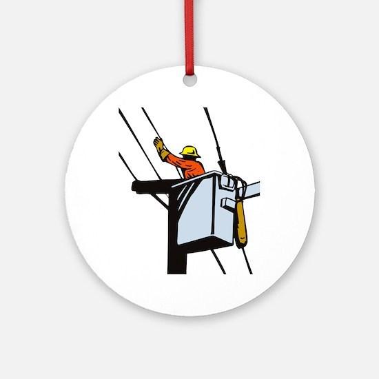 power lineman repairman Ornament (Round)