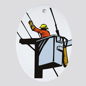 power lineman repairman Ornament (Oval)