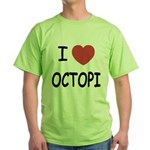 I heart octopi Green T-Shirt