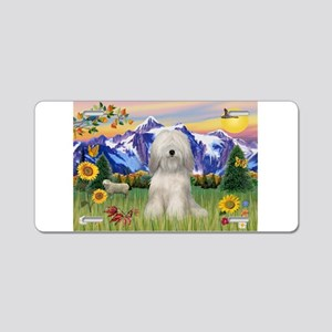 Tibetan Terrier in Mt. Countr Aluminum License Pla