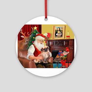 Santa's Tibetan Spaniel #4 Ornament (Round)