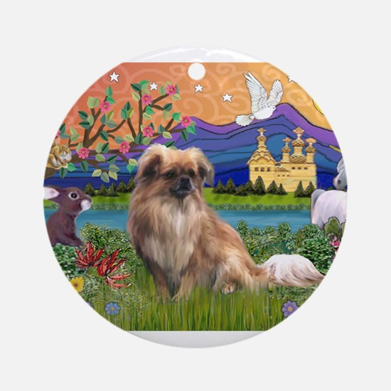 Tibetan Spaniel in Fantasy La Ornament (Round)