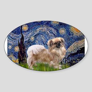 Starry Night Tibetan Spaniel Sticker (Oval)