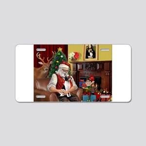 Santa & Toy Fox Terrier Aluminum License Plate