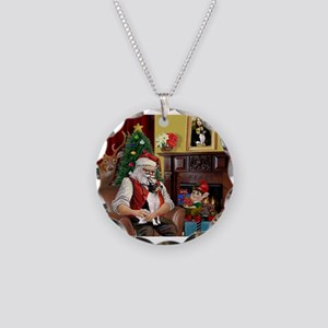 Santa & Toy Fox Terrier Necklace Circle Charm