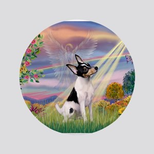 "Cloud Angel & Toy Fox Terrier 3.5"" Button"