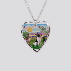 Toy Fox Terrier Easter Necklace Heart Charm