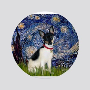 "Starry Night & Toy Fox Terrie 3.5"" Button"