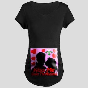 Kiss Me Under The Mistletoe Maternity Dark T-Shirt