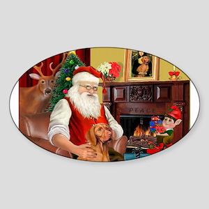 Santa's Vizsla Sticker (Oval)