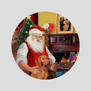 """Santa's Vizsla 3.5"""" Button"""