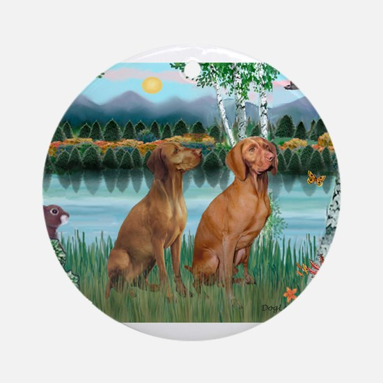 Birches / Vizsla pair Ornament (Round)