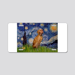 Starry Night & Vizsla Aluminum License Plate