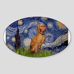 Starry Night & Vizsla Sticker (Oval)