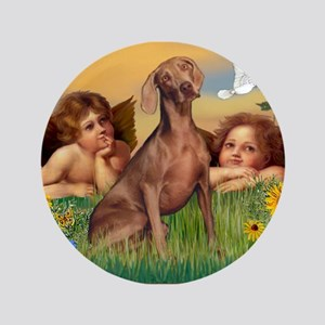 "Angels & Weimaraner 3.5"" Button"