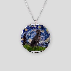 Starry Night Weimaraner Necklace Circle Charm