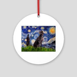 Starry Night Weimaraner Ornament (Round)
