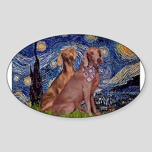 Starry Night Weimaraners Sticker (Oval)