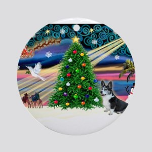 XmasMagic/Corgi (12BW) Ornament (Round)