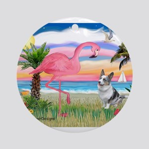Flamingo & Corgi Ornament (Round)