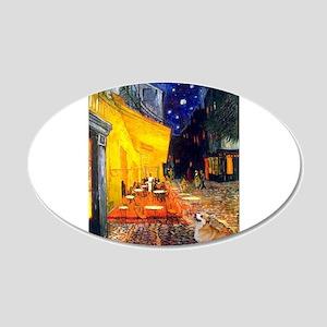 Terrace Cafe & Corgi (Pem) 22x14 Oval Wall Pee