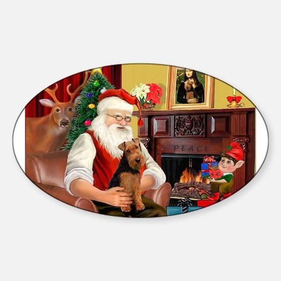 Santa's Welsh Terrier Sticker (Oval)