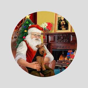 "Santa's Welsh Terrier 3.5"" Button"