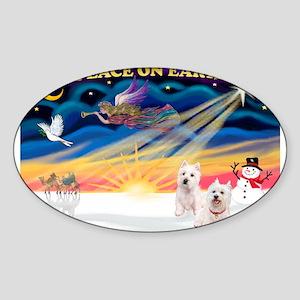 XmasSunrise/2 Westies Sticker (Oval)