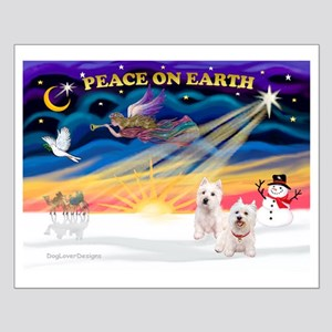 XmasSunrise/2 Westies Small Poster
