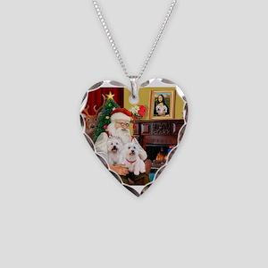 Santa/2 West Highland Necklace Heart Charm