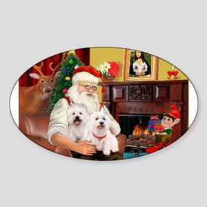Santa/2 West Highland Sticker (Oval)