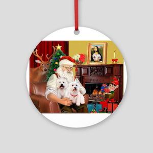Santa/2 West Highland Ornament (Round)